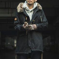 Streetstar - Furry Hooded Long Padded Jacket