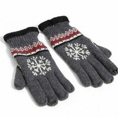 BESTshop - Fleece-Lined Patterned Gloves