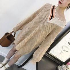 THE XIBI - 仿旧V领粗织毛衣