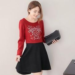 Tokyo Fashion - Lace-Panel Slit-Back Cutout Dress