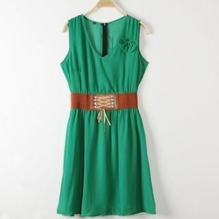 JVL - Lace-Up Belted Chiffon Sleeveless Dress