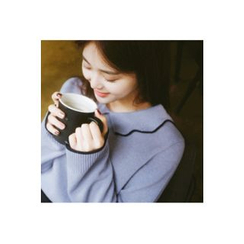 CHERRYKOKO - Collared Contrast-Trim Wool Blend Knit Top