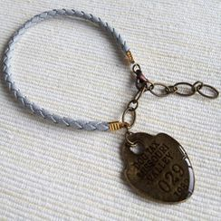 MyLittleThing - Gray Leather Charm Bracelet