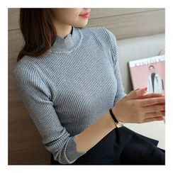 Ranche - Mock Neck Long-Sleeve Knit Top