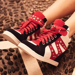 SouthBay Shoes - Studded Color-Block Hidden Wedge Sneakers