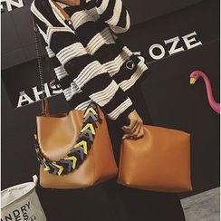 Aishang - 两件套: 仿皮肩包 + 拉链小袋