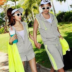 Tabula Rasa - Couple Matching Set: Hooded Vest + Shorts