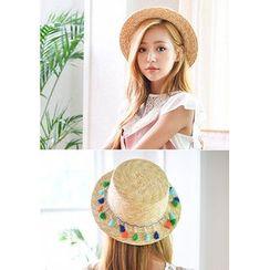 GOROKE - Tassel-Trim Straw Hat