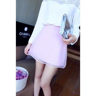 QZ Lady - Mesh-Overlay A-Line Skirt