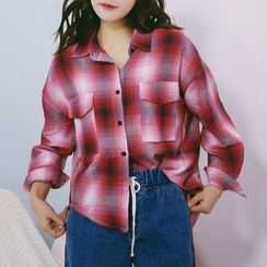 SUYISODA - Plaid Oversized Shirt