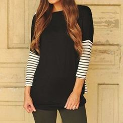 Eloqueen - 3/4-Sleeve Stripe-Panel Top