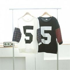 GLAM12 - Check-Panel Trim T-Shirt