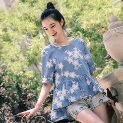 11.STREET - Elbow-Sleeve Embroidered Frilled Top