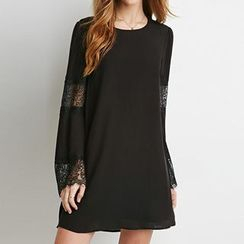 Richcoco - Lace Panel A-line Chiffon Dress