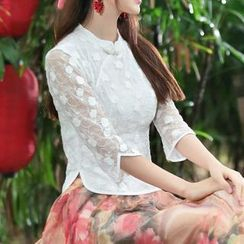Diosa - Mandarin Collar Elbow Sleeve Lace Top