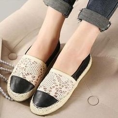 Mancienne - Lace Panel Espadrille Flats