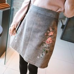 mimi&didi - Flower Embroidered Corduroy A-Line Mini Skirt