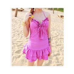 Jumei - 荷葉邊裙式泳衣