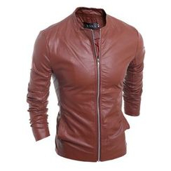 Hansel - Faux Leather Racing Biker Jacket