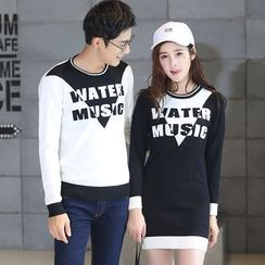 Igsoo - Couple Matching Letter Colour Block Knit Top / Knit Dress