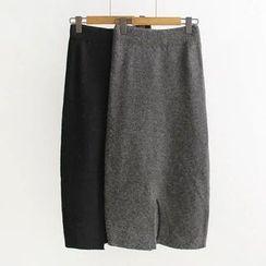 Musume - Slit-Hem Knit Long Skirt