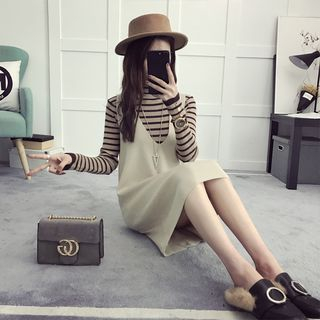 efolin - Set: Striped Long Sleeve Knit Top + Pinafore Knit Dress