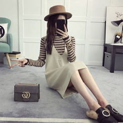 efolin - Set: Striped Long Sleeve Knit Top + Pinafore Knit Dress