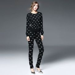 Ozipan - Set: Eye-Print Pullover + Drawstring Printed Pants