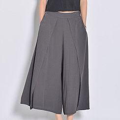 Yohana - Plain Linen-blend Wide-leg Pants