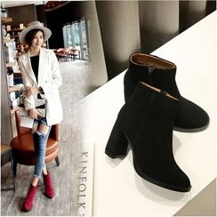 Pangmama - Genuine-Leather Chunky-Heel Ankle Boots