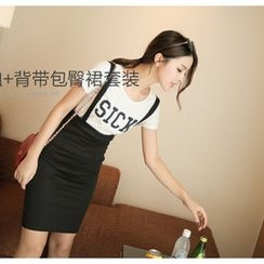 YOZI - Set: Print T-Shirt + Jumper Skirt