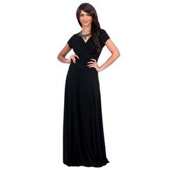 Hotprint - V-Neck Short-Sleeve Maxi Dress