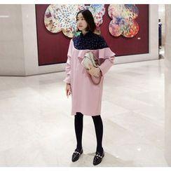Miamasvin - Flower Pattern Panel Ruffled Shift Dress