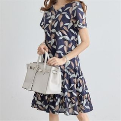 PEPER - Leaf Print Tie-Sash Dress