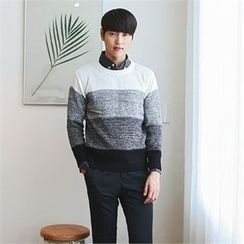 MITOSHOP - Crew-Neck Color-Block Knit Top