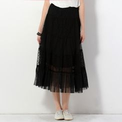 YesStyle Z - Polka Dot Panel Tulle Maxi Skirt
