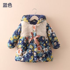 Seashells Kids - Kids Floral Print Hooded Padded Coat