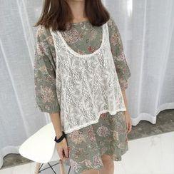 MATO - Set: Floral Print Elbow Sleeve T-Shirt Dress + Lace Tank Top