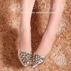 YIYA - 水晶金屬亮面平跟鞋