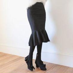 PPGIRL - Ruffle-Hem Midi Skirt