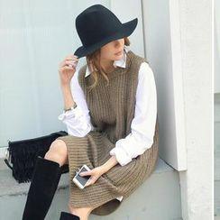 REDOPIN - Sleeveless Rib-Knit Dress