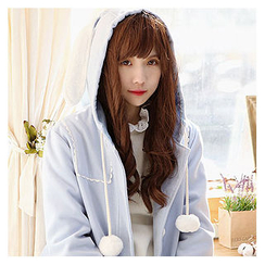 Sechuna - Hooded Pompom-Detail Coat