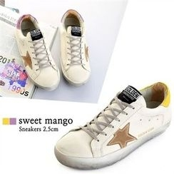 SWEET MANGO - Star-Appliqué Distressed Sneakers