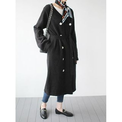 STYLEBYYAM - Wool Blend Double-Breasted Long Cardigan with Sash