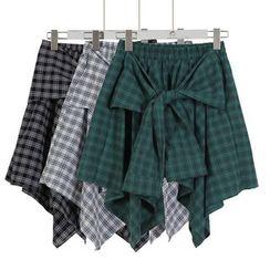 Momewear - Tie-Front Hanky-Hem Flare Skirt