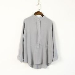 Ranche - Stand Collar Long-Sleeve Blouse