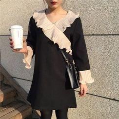 Bloombloom - Ruffle Trim Long-Sleeve A-line Dress
