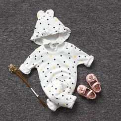 MOM Kiss - Baby Set: Dotted One-Piece + Hood