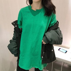 Dute - Plain Ripped Short Sleeve T-Shirt