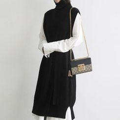 NANING9 - Sleeveless Wool Blend Knit Dress with Sash